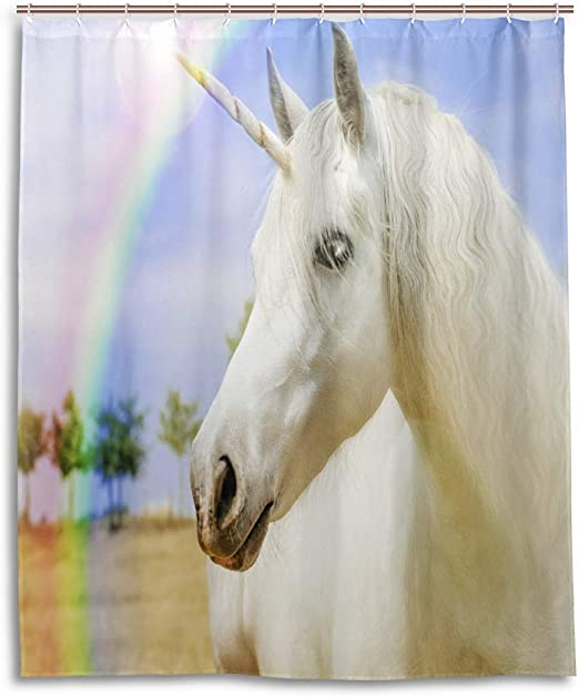 60x72/'/' Unicorn on Rainbow Waterproof Polyester Shower Curtain Bathroom Decor