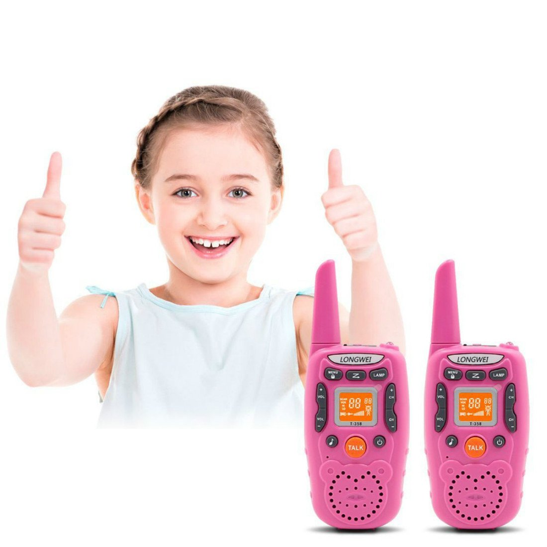 Kids Walkie Talkie Set 0.5W FRS/GMRS 22 Channel Two Way Radio Up to 3 Km Range for Children Camping Hiking(2PCS Pink)