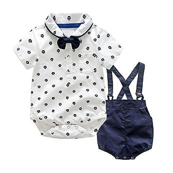 527a154e83c6d Aliciga ベビー ボーイズ 半袖 フォーマル スーツ 男の子 白い シャツ ロンパース + カーキ 濃紺色 ズボン 上下