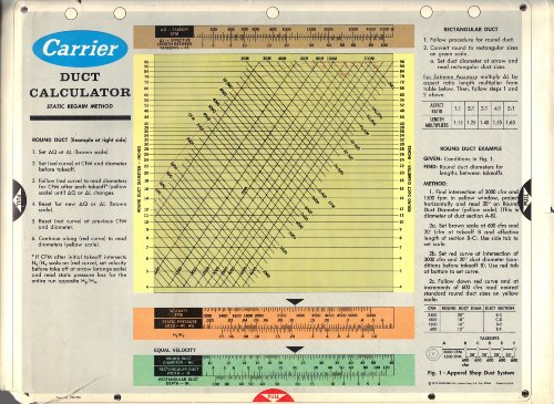 Carrier Duct Calculator (Static Regain Method and Equal Friction Method, Form No. 599-921) (Duct Carrier)