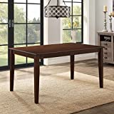 Modern Mocha Dining Table,Seats up to 6 People,Solid Wood and Veneer Construction,Perfect for Family and Guests