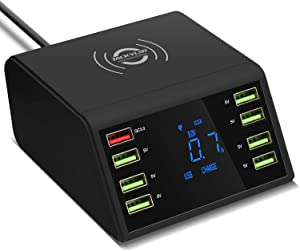Charging Station for Multiple Devices JACKYLED Wireless Qi 10W 8 USB Ports with Quick Charge 3.0 USB Desktop Charger with LED Display Compatible with iOS and Android Devices iPhone iPad Samsung Black