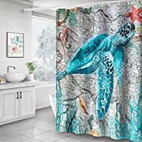 Hoomall Shower Curtain, Christmas Snowman 71x71 Inch Shower Curtain Decorative Bath Curtain Durable with Hooks Fabric Waterproof Muilt Function (71x71 inches, B2-Turtle Blue)