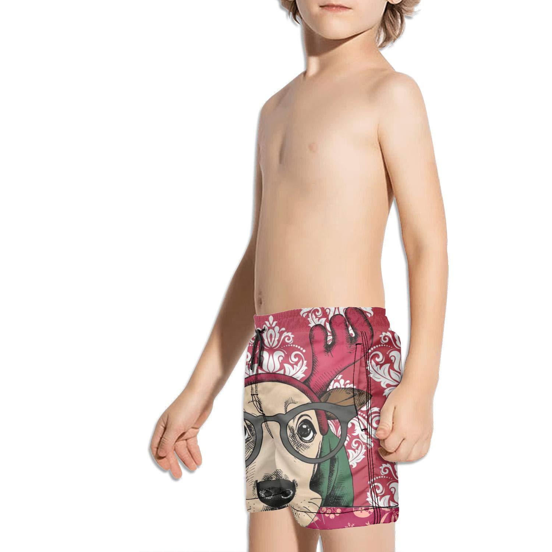 FullBo Christmas Golden Retriever Dog Deer Little Boys Short Swim Trunks Quick Dry Beach Shorts