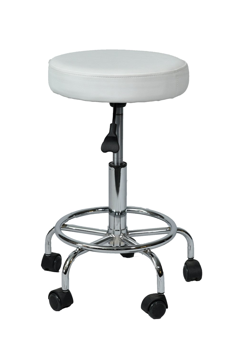 Beauty Salon All Purpose Hydraulic Adjustable Rolling Stools/Chairs With Round Foot Rest (Chrome Base)For Massage, Physiotherapy, Hair Salons Spa, Doctors Comfort Relief Stool (Black) ZD