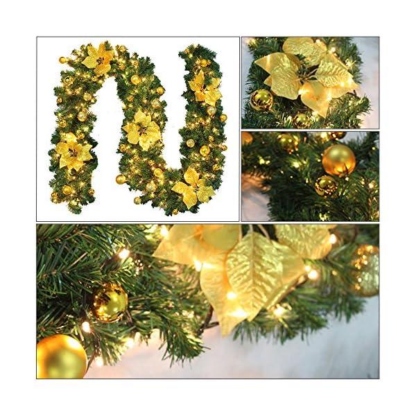 2.7m Ghirlanda di Natale con Pino e Frutti Rossi,Ghirlanda Porta d'ingresso di Natale con Luci a LED,Luminoso Decorazione Natale per Camino Scale Porta Esterno Alimentazione a Batteria (D'oro) 6 spesavip