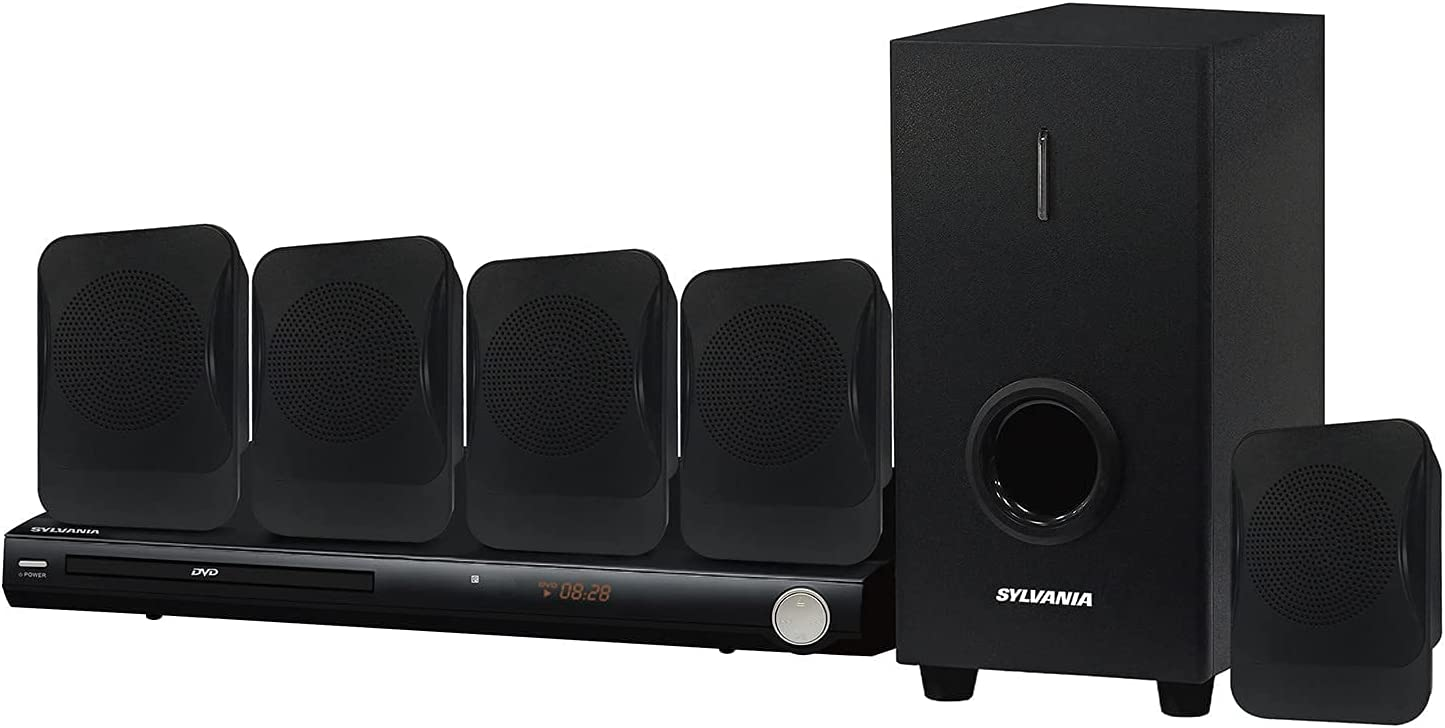 SYLVANIA SDVD5089 5.1-Channel 450-Watt DVD Home Theater System with 5 Satellite Surround Sound Speakers, Subwoofer, and DVD Player (Renewed)