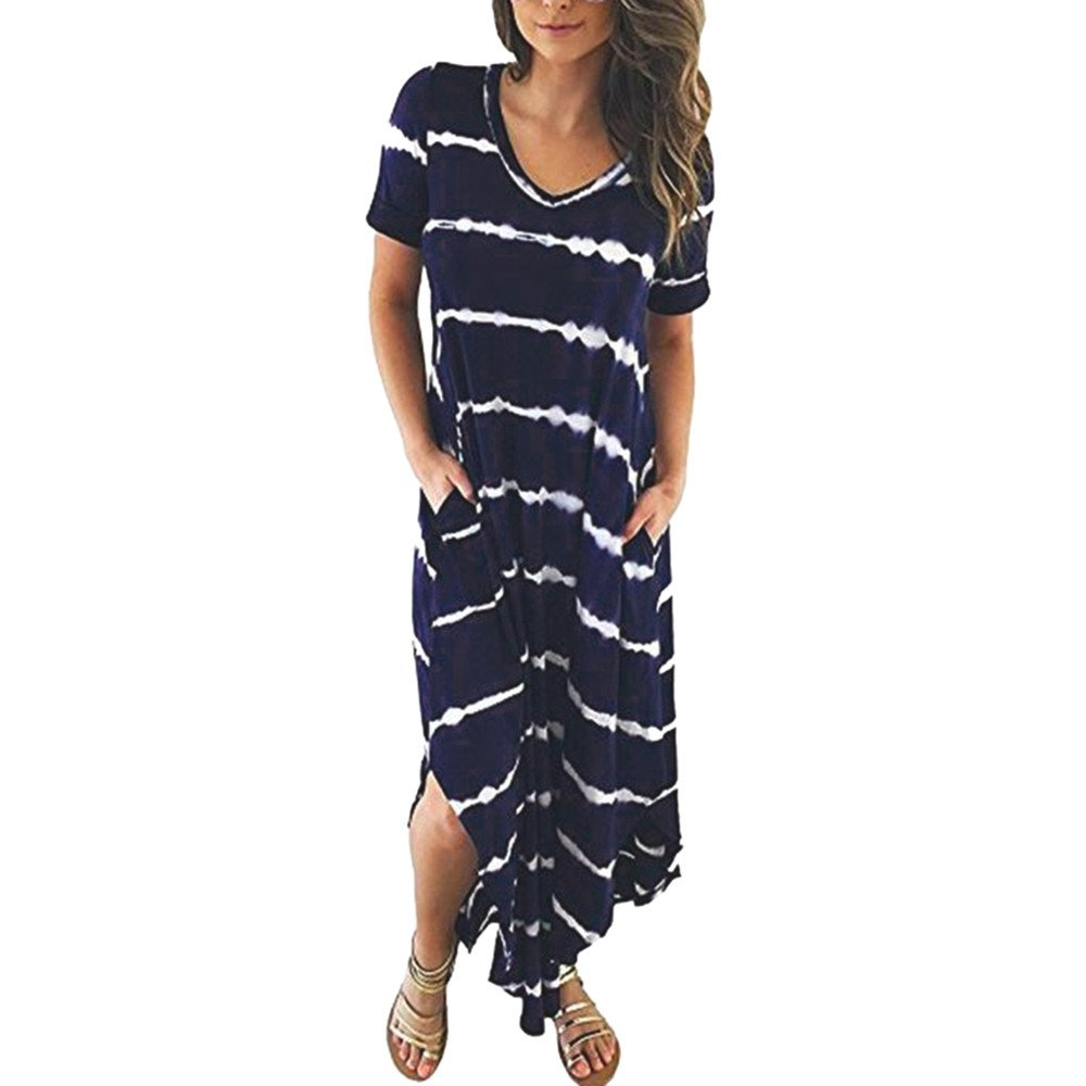 Women's Summer Casual Striped Short Sleeved Pocket Split Irregular Hem Long Beach Dress Fashion Women's V-Neck Split Tie Dye Loose Long Dress (M, Navy) by succeedtop Women