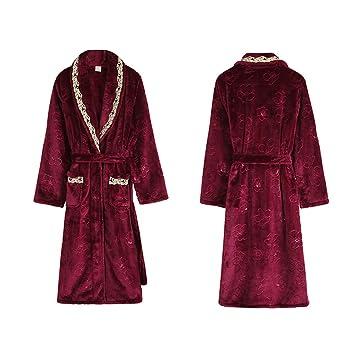 GX Albornoz de Felpa de Coral para Mujer, Batas de baño Suaves Pijamas Ducha Albornoces de SPA,Red,M: Amazon.es: Hogar
