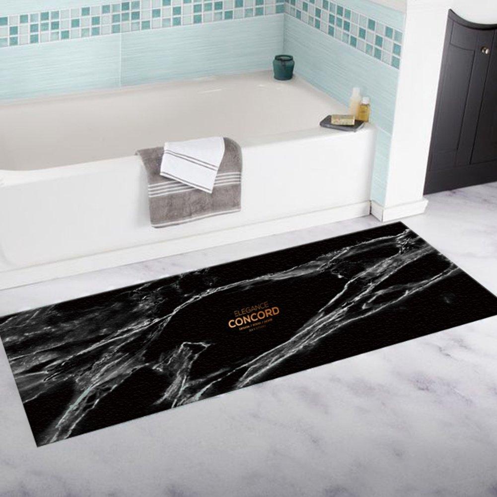 SKKGN Pattern Bathroom Kitchen Non-Slip mat, European Style Plush Absorbent Rugs-Black 16 X 24