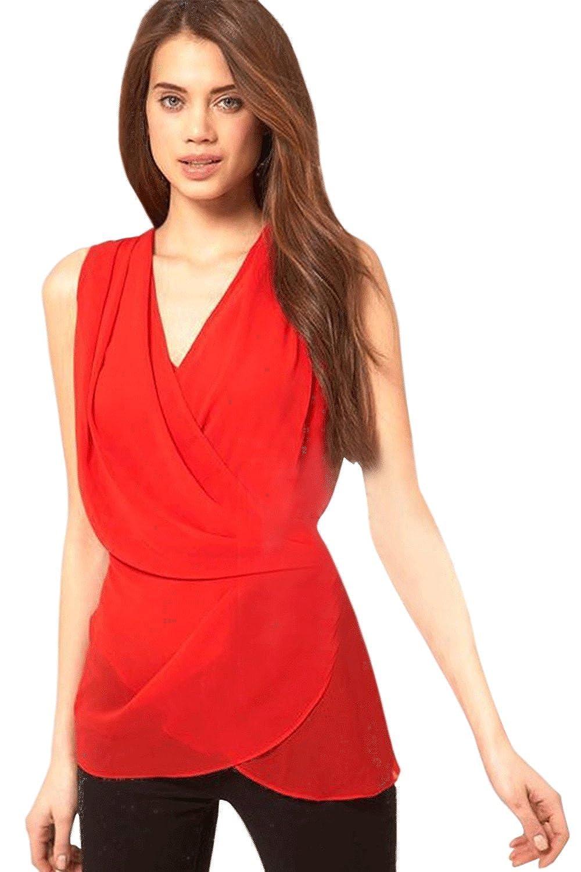 Unomatch Women Chiffon Sleeveless Shirt and Blouse Red at Amazon Women s  Clothing store