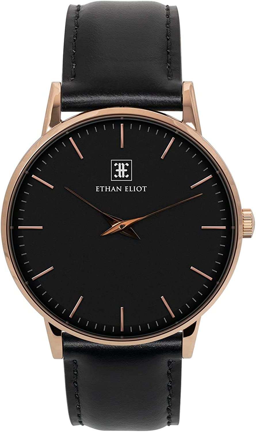 Ethan Eliot Classic Minimalist Men's Watch, Charleston 40mm Rose Gold Watch for Men, Black Face & Leather Band, 5ATM Watch