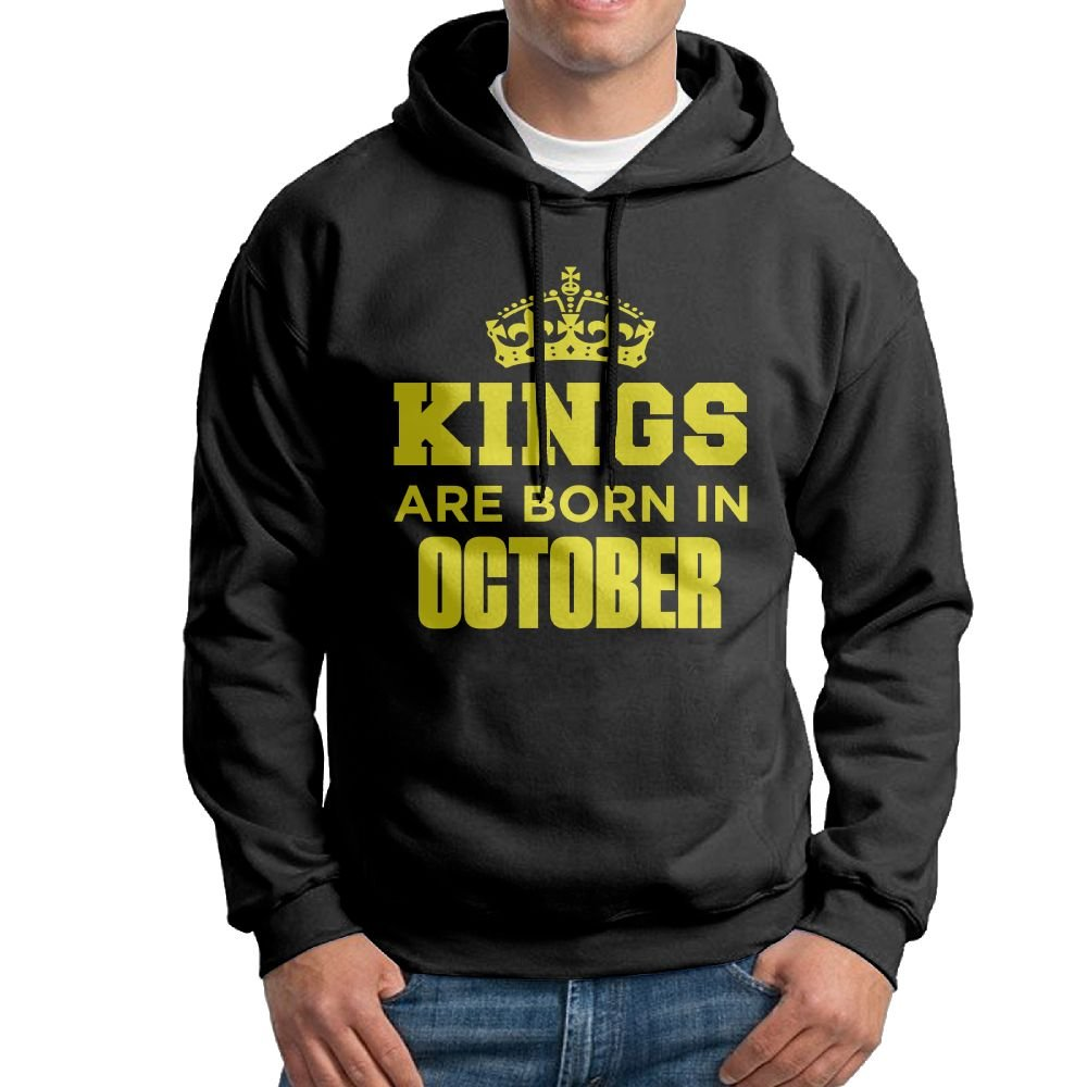 Kings Are Born In October Male Black Hooded Shirts