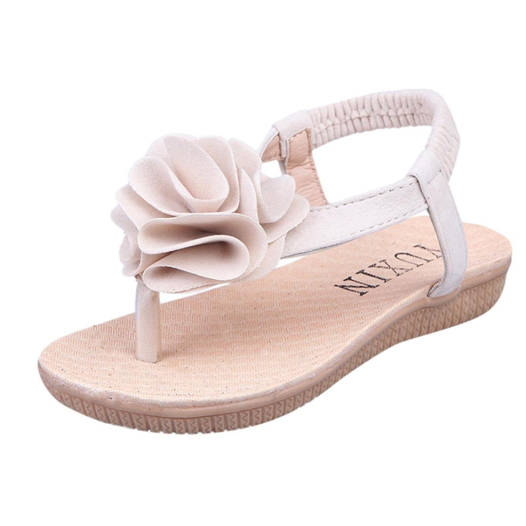 Little Girl Sandals,GBSELL Little Girl Summer Shoes Boho Floral Soft Sandals Slipper (Beige, 9T)