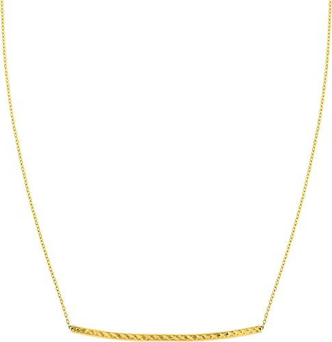 """Bar Pendant 14K Solid White Gold Necklace 16/"""" Cable Chain Set"""