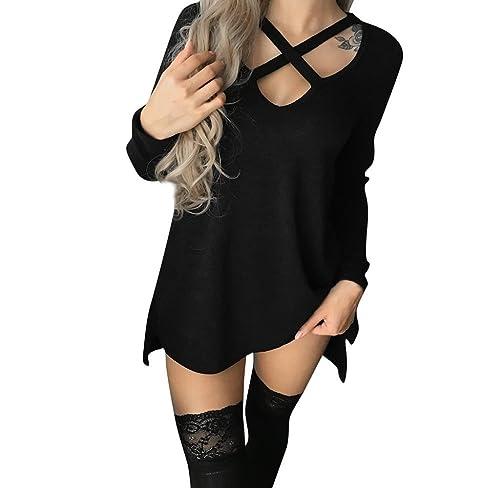 Camiseta Cuello en V para Mujer, Holacha Camisa Blusa de Manga Larga Diseño Cruzado Moda Casual Senc...