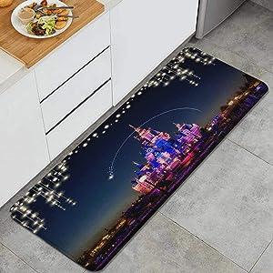 MEJAZING Disney Castle Night View of Disneyland Background Anti Fatigue Kitchen Mat Comfort Floor Mats Non-Slip Oil Stain Resistant Easy to Clean Kitchen Rug