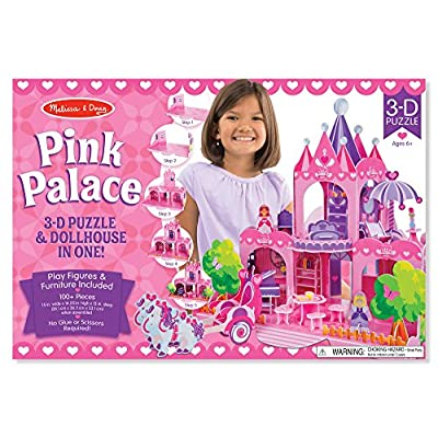 Melissa & Doug Pink Palace 3-D Puzzle (15 x 14.25 x 13 inches, 100+ pcs): Game: Toys & Games