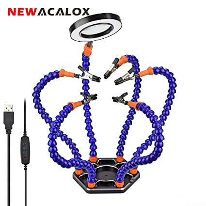 NEWACALOX - Estación de soldadura flexible con manos ayudantes, herramienta de 3 lupas
