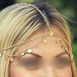 HuntGold 1X Lentejuelas de bohemios Estilo Círculo joyería de la cadena de la frente de la banda del pelo del corchete Decoración
