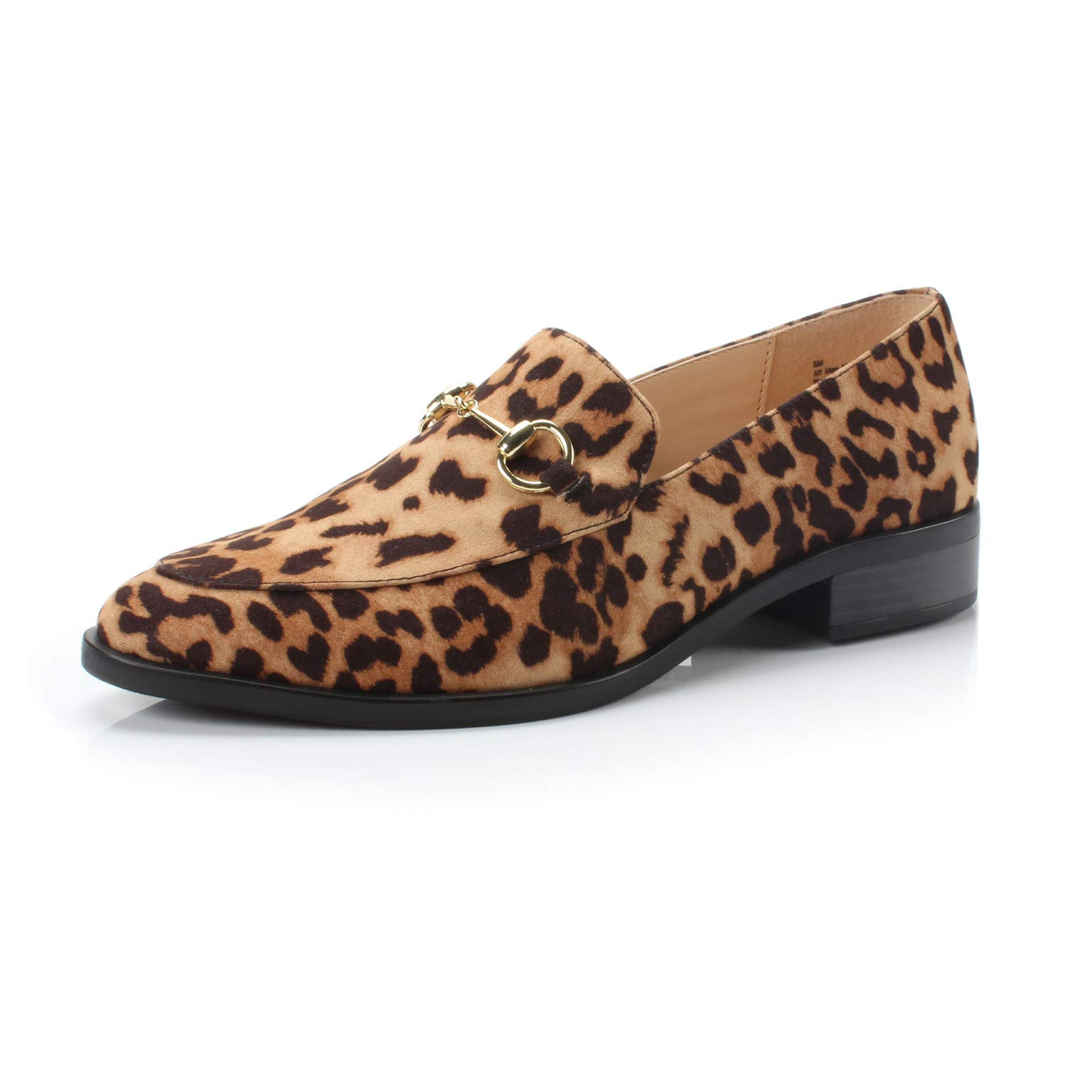 Leopard Fabric DUNION Women's BRINE Comfortable Slip on Chain Decorated Penny Loafers Low Heels Almond Toe Casual Daily shoes