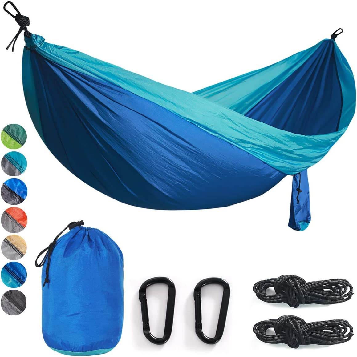 Double Single Camping Hammock Nylon Portable Parachute Lightweight for Backyard, Hiking, Beach