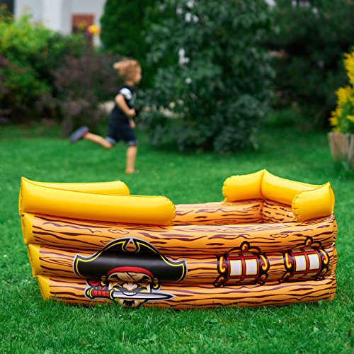 Kenley Inflatable Drinks Cooler - Floating Pirate Ship - Supplies & Decorations for Beach Pool Party, Summer Picnic, BBQ, Luau or Pirate Theme Kids Birthday - Ice Buffet Tray Drink Holder Serving Bar by Kenley (Image #6)