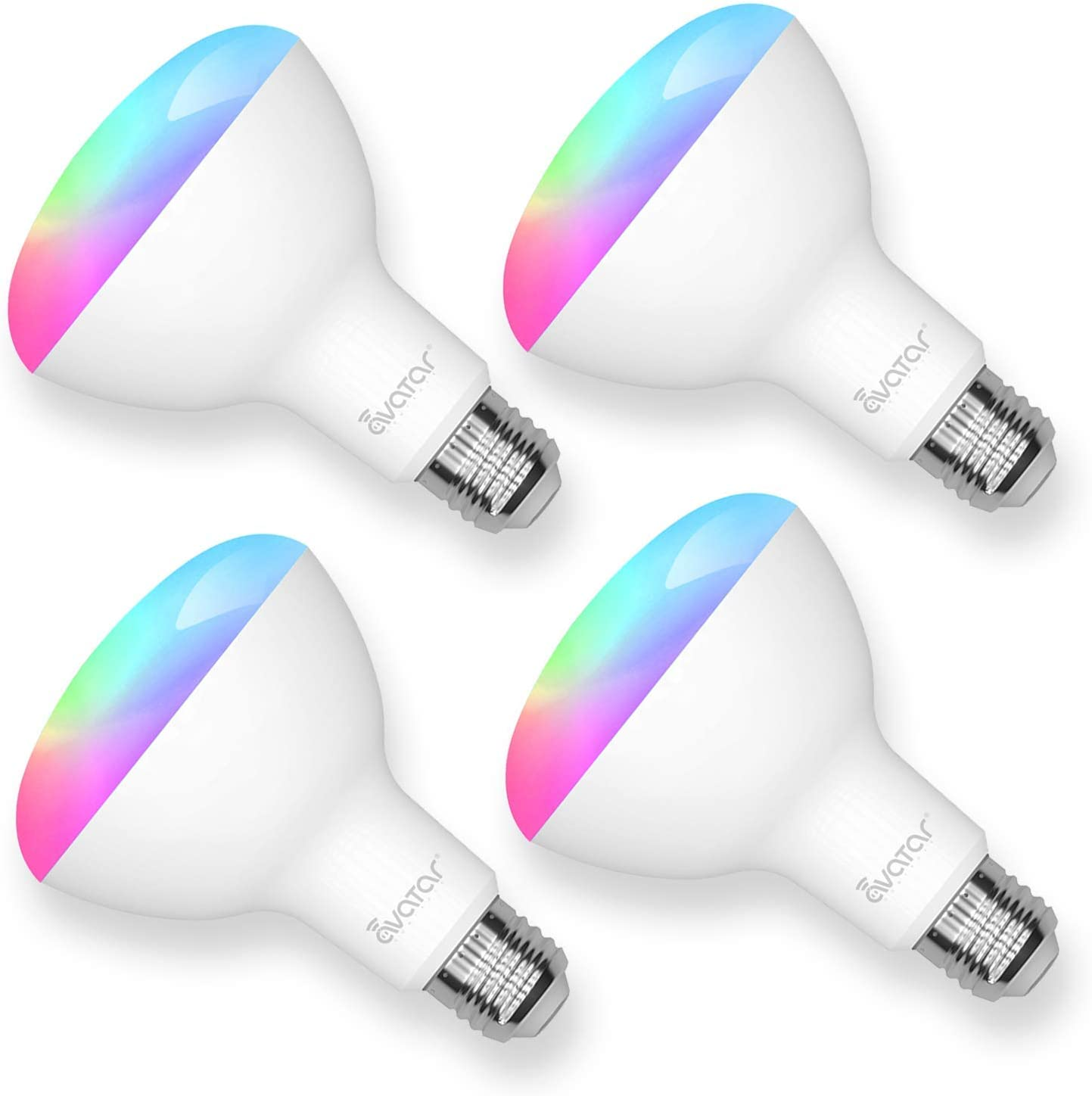 BR30 Smart Light Bulbs That Work with Alexa/Google Home/Smart Life/TuyaSmart, 2.4 GHz Wi-Fi, 13W Floodlight LED Color Changing Light Bulbs, E26 Base, 1200LM, RGBCW Colors, No Hub Required, 4 Pack