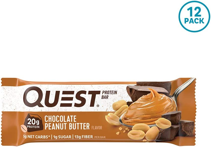 Quest Nutrition Chocolate Peanut Butter Protein Bar, High Protein, Low Carb, Gluten Free, Keto Friendly, 12 Count