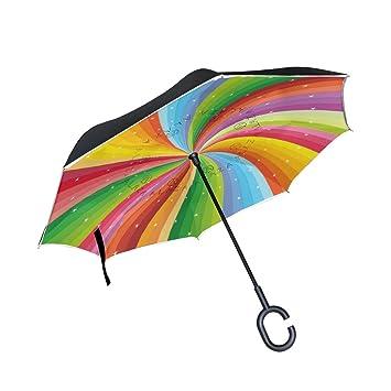 Mi Diario Doble Capa Paraguas invertido coches Reverse paraguas en espiral arco iris rayas con estrellas
