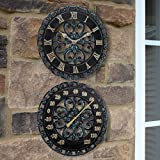 Lily's Home 13-Inch Verdigris Indoor or Outdoor Wall Clock and Thermometer | Hanging