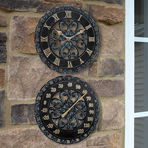Lily's Home 13-Inch Verdigris Indoor or Outdoor Wall Clock and Thermometer | Hanging Outdoor Patio Porch Wall Decor Clock & Thermometer Combo