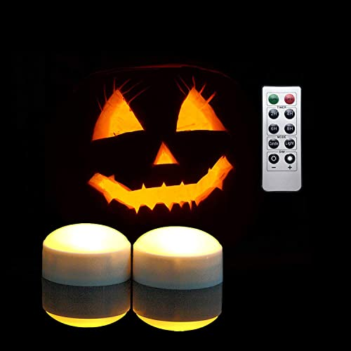iZAN Halloween Battery Operated LED Pumpkin Lights with Remote and Timer, Bright Flickering Flameless Candles for Pumpkin Decor, Jack-O-Lantern Halloween Party Home Decorations, White Color, 2 Pack