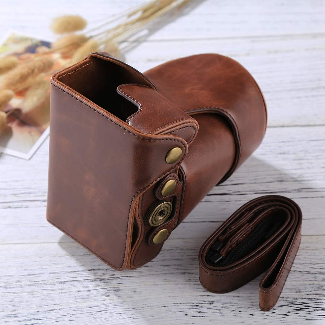 Black Color : Brown 18-150mm Lens HONGYU Camera Accessories Full Body Camera PU Leather Case Bag with Strap for Canon EOS M6