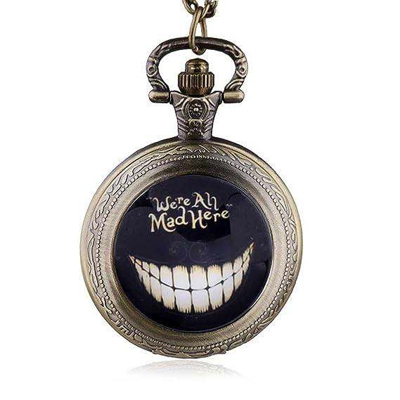 HWCOO Relojes De Bolsillo Reloj retro de medio punto Alice in Wonderland Reloj de bolsillo de
