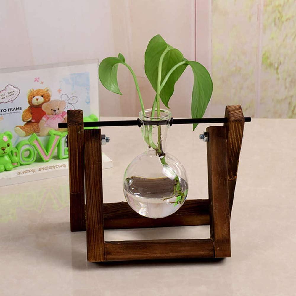 d/écoration de bureau plantes plantes maison plantes mariage WAZA Vase en verre transparent avec support en bois pour plantes