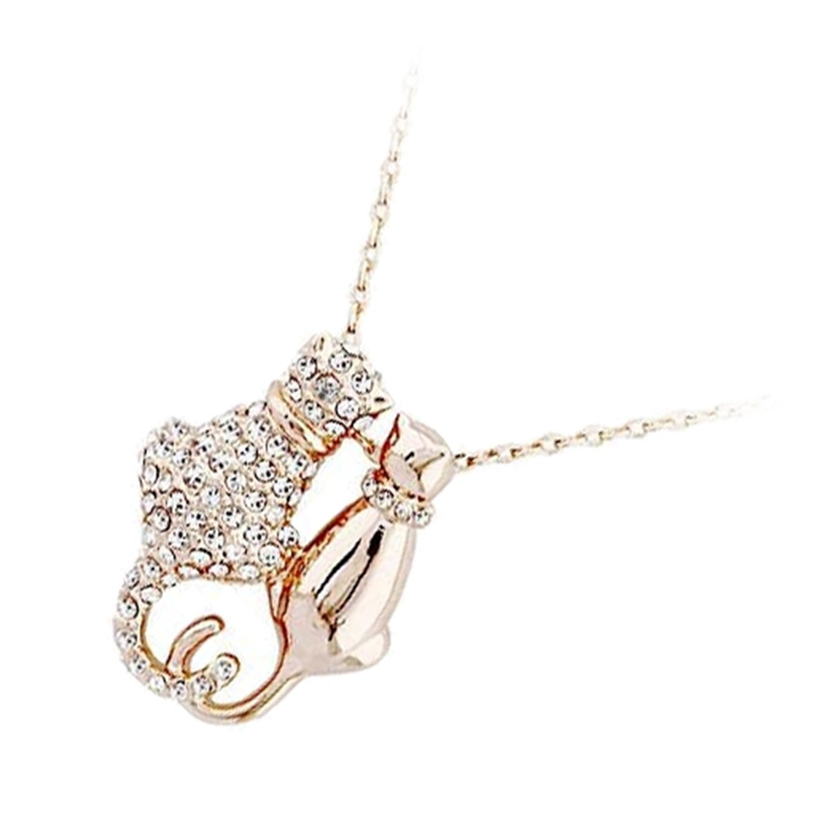 Amazon.com: GWG 18K Gold Plated Couple of Cats Covered with Diamond Clear Stones Animal Pendant Necklace for Women: Jewelry