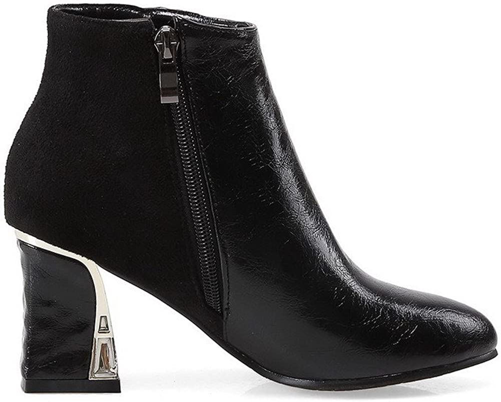 Black AalarDom Womens Round Closed Toe High Heels Ankle High Solid Boots 42