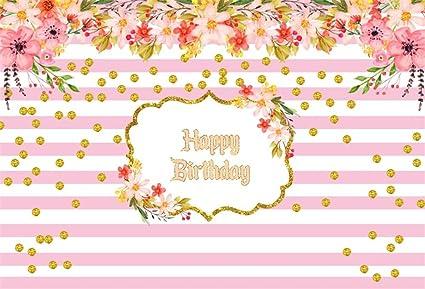 amazon com lfeey 7x5ft happy birthday backdrop girls gold