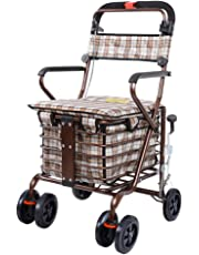 Lightweight Folding 4 Wheel Walker with Shopping Cart Collapsible Trolley for The Elderly Old Age Walking Seat Can Take to Buy Food (Color : B)