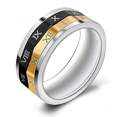 WWOOR anillo moderno y original de acero inoxidale del unisex estilo adornado con numeración romana del tres colores del ancho 6mm: Amazon.es: Joyería