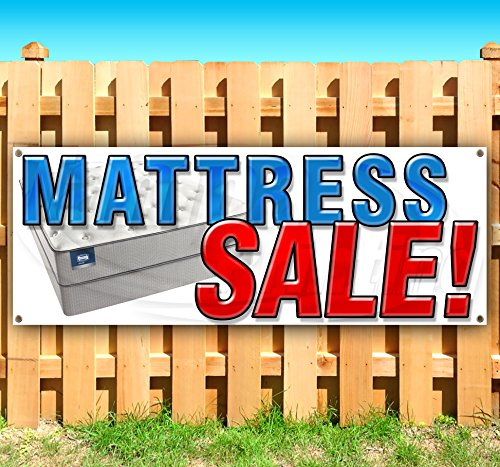 MATTRESS SALE 13 oz heavy duty vinyl banner sign with metal grommets, new, store, advertising, flag, (many sizes available) (Cheap Banner)