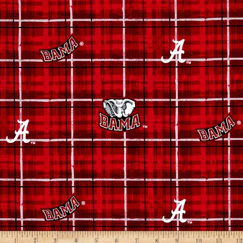 Sykel Enterprises Collegiate Cotton Broadcloth University of Alabama Plaid Fabric by The Yard,