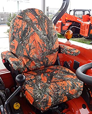 Durafit Seat Covers, KU06 Orange Kubota Seat Covers for tractor L3240, L3940, L4240, L5040, L5240, L5740in MC2 Camo Endura.