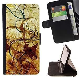 For Sony Xperia Z3 Compact / Z3 Mini (Not Z3) Case , Líneas abstractas de la vendimia- la tarjeta de Crédito Slots PU Funda de cuero Monedero caso cubierta de piel
