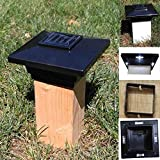 (12 Pack) Solar Post Cap Low Profile 4 SMD LED Off 4''X4'' PVC Fence Post With Adapter for 3.5'' x 3.5'' Wood Post (Black)