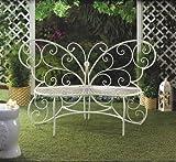 Beautiful White Butterfly Garden Bench Patio Garden Furniture 440lbs Max