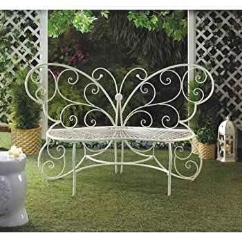 Marvelous Beautiful White Butterfly Garden Bench Patio Garden Furniture 440lbs Max