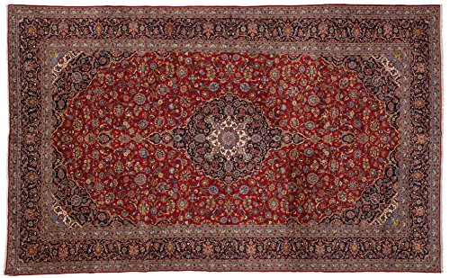 Kashan handmade area rug with burgundies and blues. Size: 10' 6 x 17' 1
