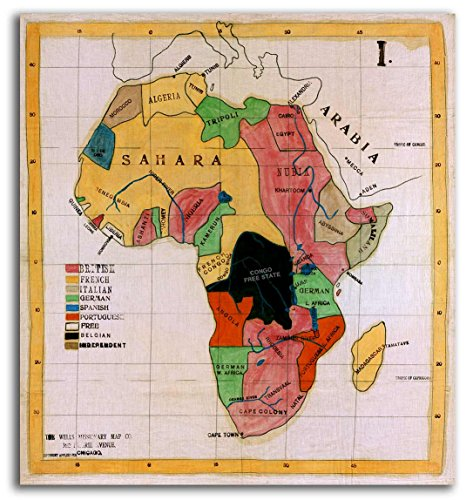 Map of AFRICA on Cotton Canvas by Wells Missionary Map Company - circa 1908 - measures 26